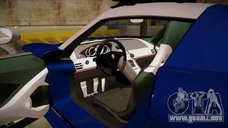 Porsche Carrera GT 2004 Police Blue para visión interna GTA San Andreas