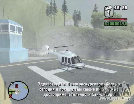 Tour en helicóptero de San Fierro para GTA San Andreas tercera pantalla