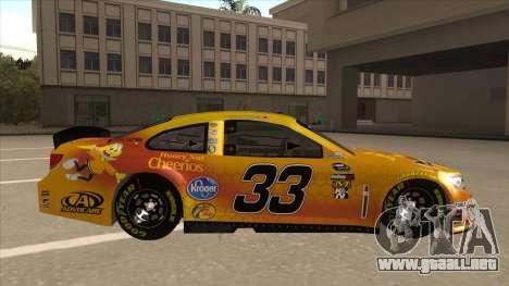 Chevrolet SS NASCAR No. 33 Cheerios para GTA San Andreas vista posterior izquierda