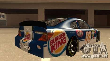 Toyota Camry NASCAR No. 93 Burger King Dr Pepper para la visión correcta GTA San Andreas