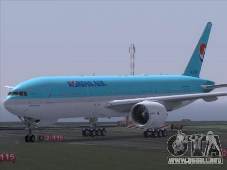 Boeing 777-2B5ER Korean Air para GTA San Andreas vista hacia atrás