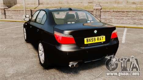 BMW M5 E60 Metropolitan Police Unmarked [ELS] para GTA 4 Vista posterior izquierda