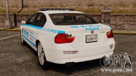 BMW 350i NYPD [ELS] para GTA 4 Vista posterior izquierda