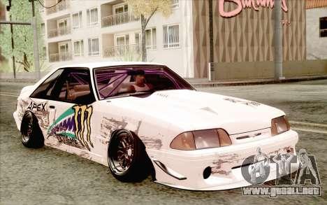 Ford Mustang SVT Cobra 1993 Drift para GTA San Andreas vista posterior izquierda