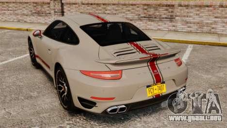 Porsche 911 Turbo 2014 [EPM] TechArt Design para GTA 4 Vista posterior izquierda