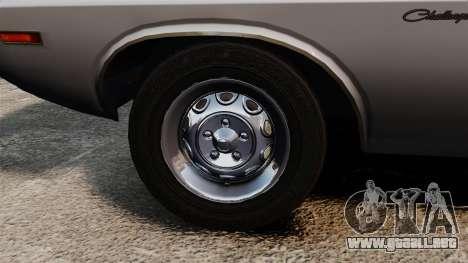 Dodge Challenger 1971 v1 para GTA 4 vista hacia atrás
