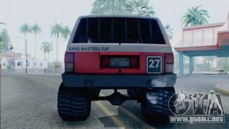 Jeep Cherokee 1984 Sandking para la visión correcta GTA San Andreas