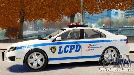 Ford Fusion LCPD 2011 [ELS] para GTA 4 Vista posterior izquierda