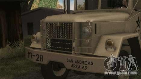 AM General M35A2 1950 para GTA San Andreas vista hacia atrás