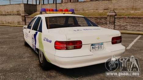 Chevrolet Caprice Police 1991 v2.0 N.o.o.s.e para GTA 4 Vista posterior izquierda