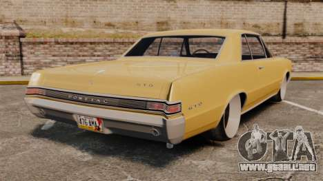 Pontiac GTO 1965 para GTA 4 Vista posterior izquierda