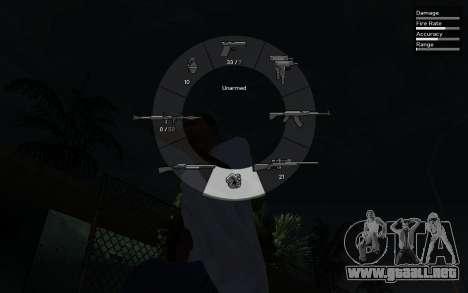 GTA V Weapon Scrolling para GTA San Andreas segunda pantalla