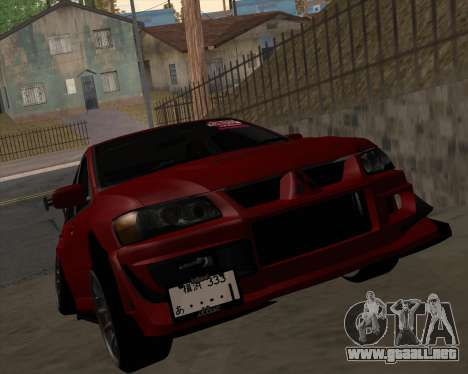 Mitsubishi Evolution VIII para GTA San Andreas left