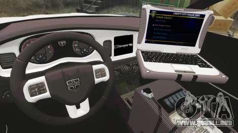 Dodge Charger 2012 LCPD [ELS] para GTA 4 vista hacia atrás