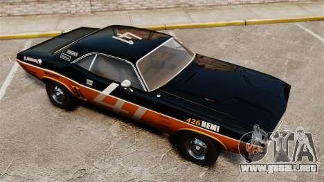Dodge Challenger 1971 v2 para GTA 4 vista lateral
