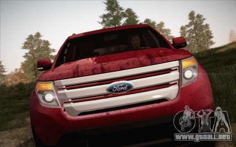 Ford Explorer 2013 para GTA San Andreas vista hacia atrás