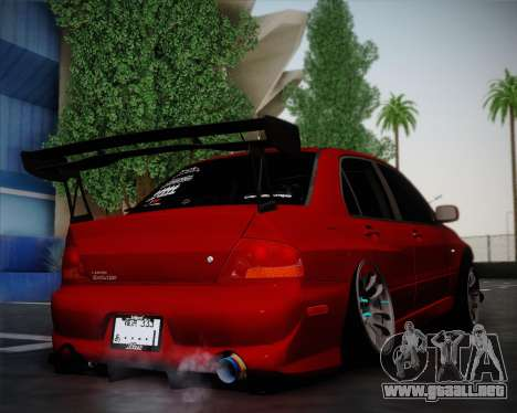 Mitsubishi Evolution VIII para GTA San Andreas vista posterior izquierda