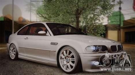 BMW E46 M3 Coupe para la visión correcta GTA San Andreas