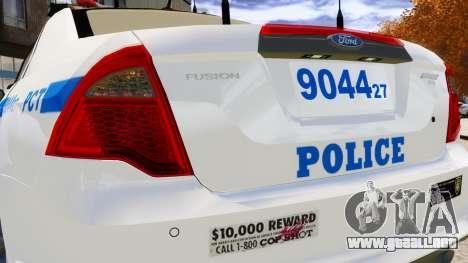 Ford Fusion LCPD 2011 [ELS] para GTA 4 vista lateral