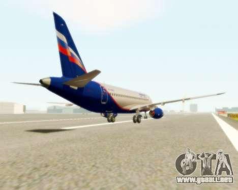Sukhoi Superjet 100-95 Aeroflot para GTA San Andreas vista posterior izquierda