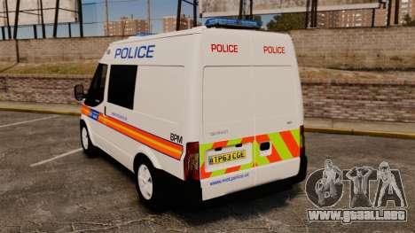 Ford Transit 2013 Police [ELS] para GTA 4 Vista posterior izquierda