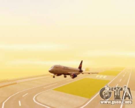 Sukhoi Superjet 100-95 Aeroflot para GTA San Andreas vista hacia atrás