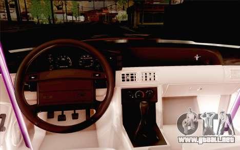 Ford Mustang SVT Cobra 1993 Drift para vista lateral GTA San Andreas