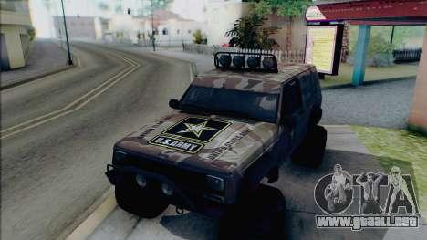Jeep Cherokee 1984 Sandking para la vista superior GTA San Andreas