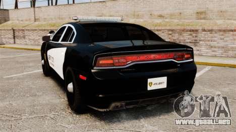 Dodge Charger 2013 LCPD STL-K Force [ELS] para GTA 4 Vista posterior izquierda