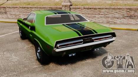 Dodge Challenger 1971 v2 para GTA 4 Vista posterior izquierda