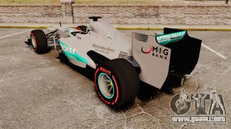 Mercedes AMG F1 W04 v6 para GTA 4 Vista posterior izquierda