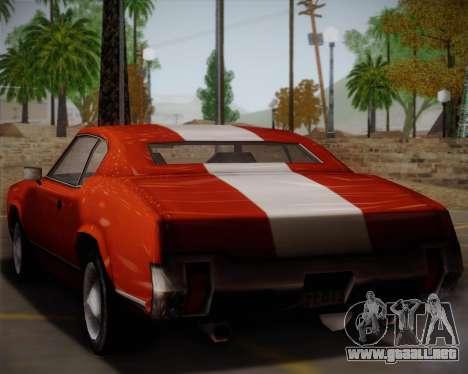 Sabre Turbo para GTA San Andreas vista posterior izquierda