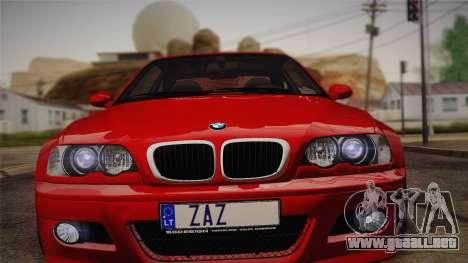 BMW E46 M3 Coupe para GTA San Andreas vista posterior izquierda