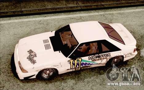Ford Mustang SVT Cobra 1993 Drift para visión interna GTA San Andreas