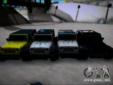 Jeep Wrangler Unlimited 2007 para GTA San Andreas vista posterior izquierda