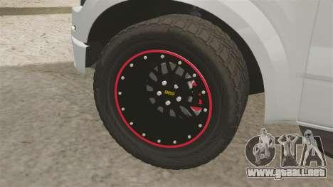 Ford SVT Raptor 2012 para GTA 4 vista hacia atrás