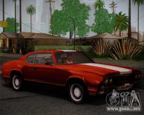 Sabre Turbo para GTA San Andreas vista hacia atrás
