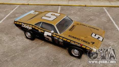 Dodge Challenger 1971 v1 para GTA 4 vista superior