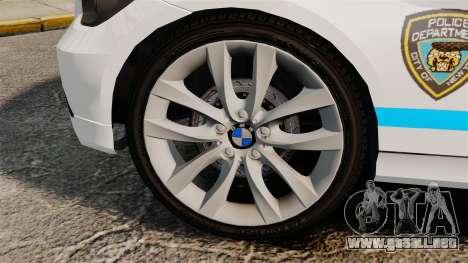 BMW 350i NYPD [ELS] para GTA 4 vista hacia atrás