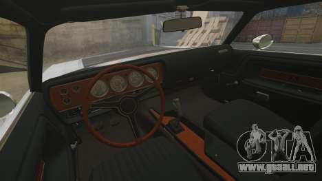 Dodge Challenger 1971 v2 para GTA 4 vista interior
