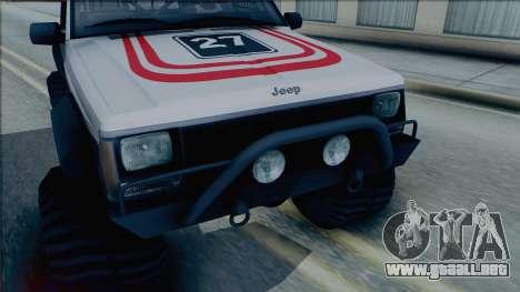 Jeep Cherokee 1984 Sandking para GTA San Andreas vista posterior izquierda