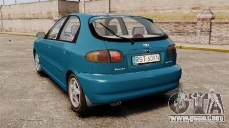 Daewoo Lanos PL 2001 para GTA 4 Vista posterior izquierda