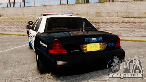 Ford Crown Victoria Police Interceptor [ELS] para GTA 4 Vista posterior izquierda