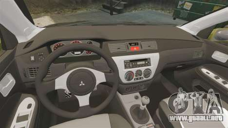 Mitsubishi Lancer Evolution IX 2006 tuning 2f2f para GTA 4 vista lateral