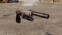 Pistola semiautomática Beretta 92 con silenciado
