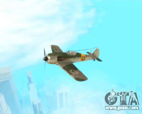 Focke-Wulf FW-190 F-8 para visión interna GTA San Andreas