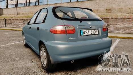 Daewoo Lanos 1997 PL para GTA 4 Vista posterior izquierda