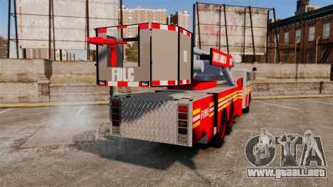 MTL Firetruck Tower Ladder [ELS-EPM] para GTA 4 Vista posterior izquierda