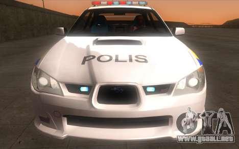 Subaru Impreza 2006 WRX STi Police Malaysian para GTA San Andreas vista hacia atrás