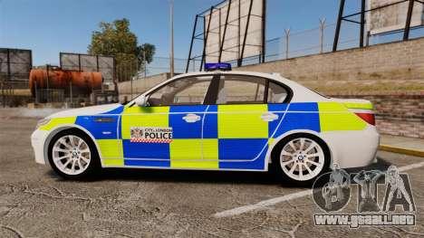 BMW M5 E60 City Of London Police [ELS] para GTA 4 left